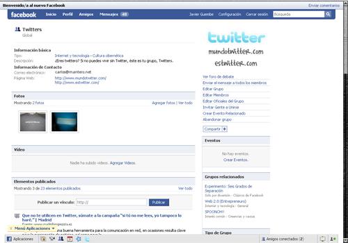 Grupo Twitters en Facebook