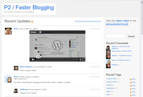 p2 wordpress theme