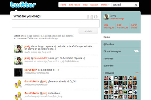 Twitter Search integrado en la web de Twitter