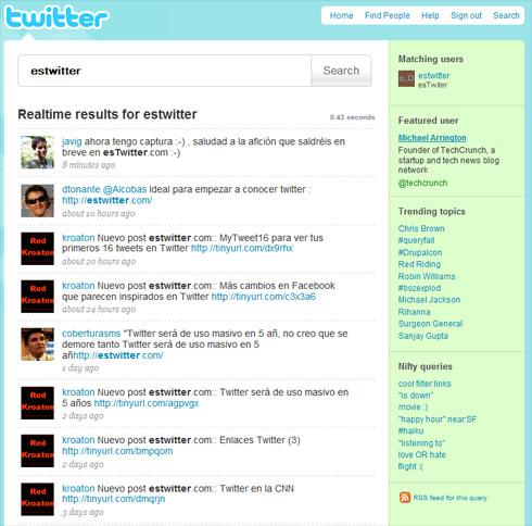 Ejemplo resultados búsqueda en el Twitter Search Integrado