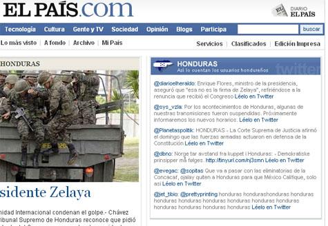 Twitter usado en portada en El País