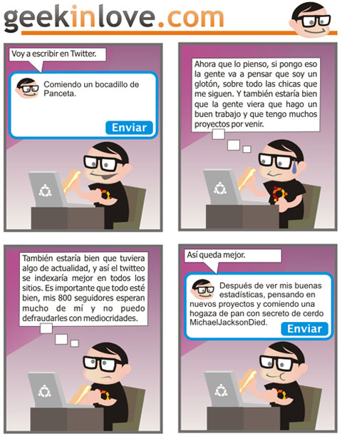 Viñeta sobre Twitter en Geekinlove