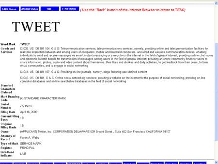 Twitter registra la marca TWEET