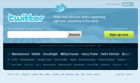 Twitter, nueva página principal