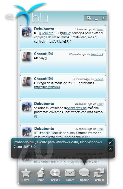 Blu, cliente Twitter para Windows Vista