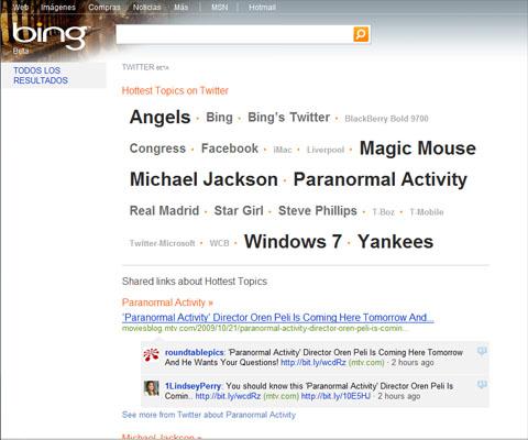 Twitter en Bing