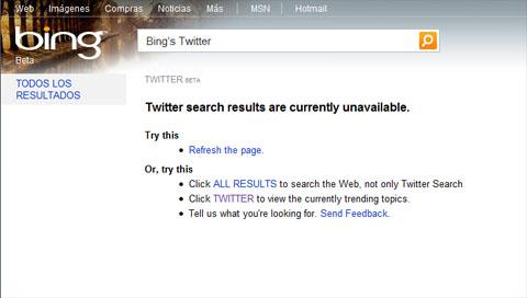 Twitter en Bing, da error