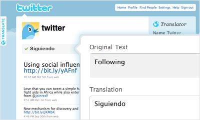 ejemplo herramienta traducción de Twitter