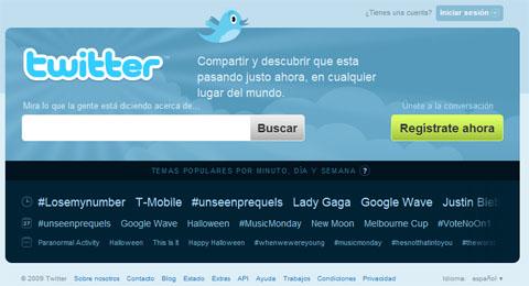 Home de Twitter en español