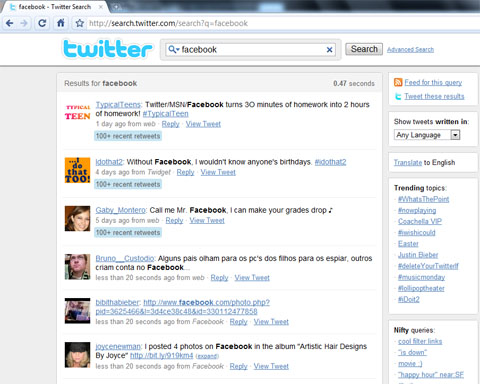 Twitter Search, result Mixed
