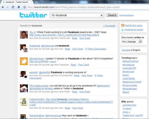 Twitter Search, result Recent